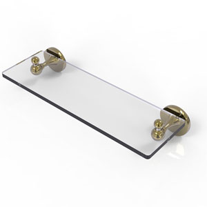 Shadwell Unlacquered Brass 16-Inch Glass Vanity Shelf with Beveled Edges
