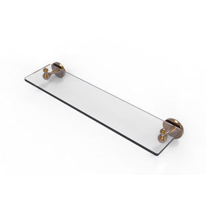 Shadwell Brushed Bronze 22-Inch Glass Vanity Shelf with Beveled Edges