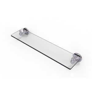 Shadwell Polished Chrome 22-Inch Glass Vanity Shelf with Beveled Edges