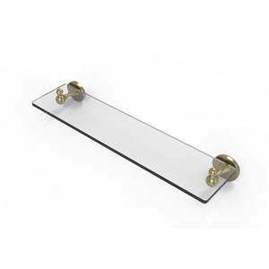 Shadwell Satin Brass 22-Inch Glass Vanity Shelf with Beveled Edges