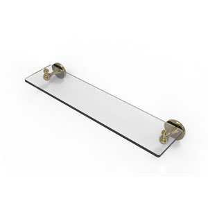 Shadwell Unlacquered Brass 22-Inch Glass Vanity Shelf with Beveled Edges