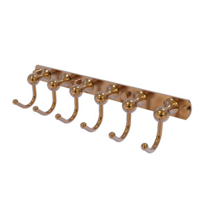Shadwell Brushed Bronze Four-Inch Six-Position Tie and Belt Rack