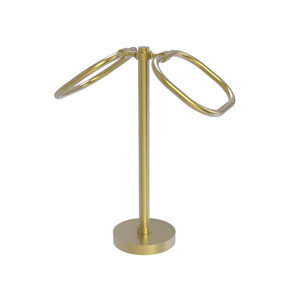 Satin Brass Six-Inch Two Ring Oval Guest Towel Holder