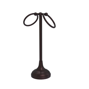 Tribecca Antique Bronze Six-Inch Vanity Top Two-Ring Guest Towel Holder