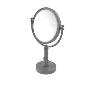 Tribecca Matte Gray Eight-Inch Vanity Top Make-Up Mirror with 5X Magnification