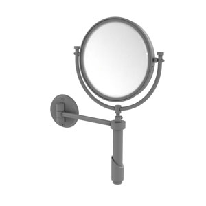Tribecca Matte Gray Eight-Inch Wall Mounted Make-Up Mirror with 4X Magnification