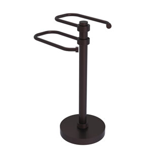 Antique Bronze Eight-Inch Free Standing Two Arm Guest Towel Holder with Groovy Ring Detail