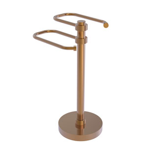 Brushed Bronze Eight-Inch Free Standing Two Arm Guest Towel Holder with Groovy Ring Detail