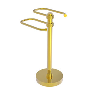 Polished Brass Eight-Inch Free Standing Two Arm Guest Towel Holder with Groovy Ring Detail