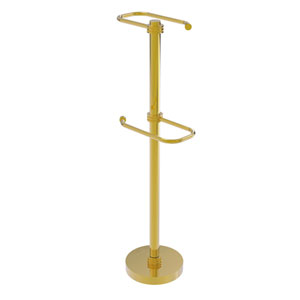 Polished Brass Six-Inch Free Standing Two Roll Toilet Tissue Stand