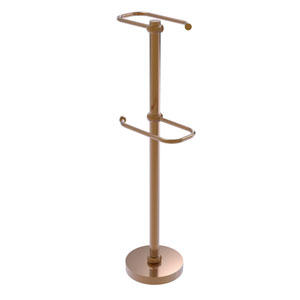 Brushed Bronze Six-Inch Free Standing Two Roll Toilet Tissue Stand