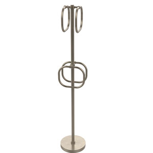 Antique Pewter Nine-Inch Towel Stand with Four Integrated Towel Rings