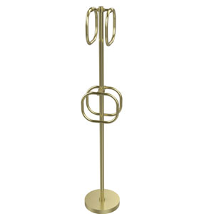 Satin Brass Nine-Inch Towel Stand with Four Integrated Towel Rings