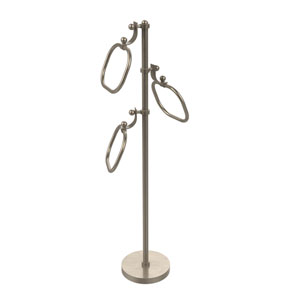 Antique Pewter Nine-Inch Towel Stand with Oval Towel Rings