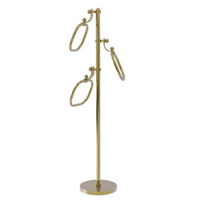 Unlacquered Brass Nine-Inch Towel Stand with Oval Towel Rings