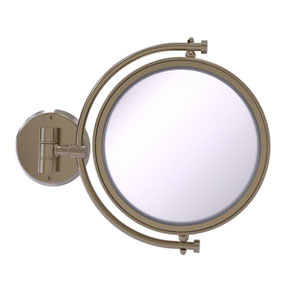 Antique Pewter Eight-Inch Wall Mounted Make-Up Mirror 4X Magnification
