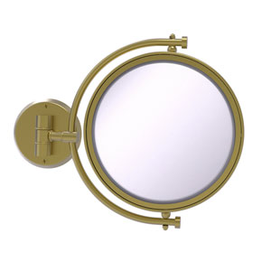 Satin Brass Eight-Inch Wall Mounted Make-Up Mirror 4X Magnification