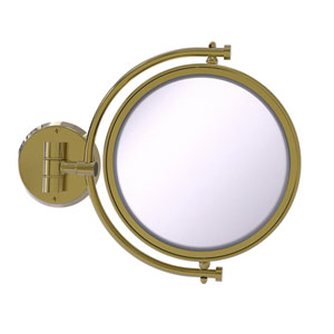 Unlacquered Brass Eight-Inch Wall Mounted Make-Up Mirror 5X Magnification