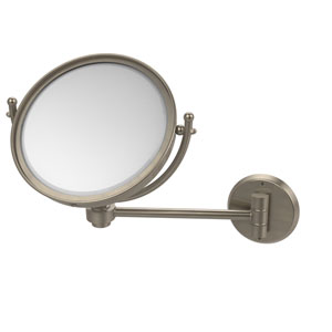 Antique Pewter Eight-Inch Wall Mounted Make-Up Mirror 2X Magnification