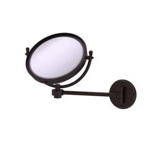 Antique Bronze Eight-Inch Wall Mounted Make-Up Mirror 4X Magnification