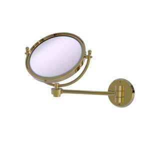 Unlacquered Brass Eight-Inch Wall Mounted Make-Up Mirror 4X Magnification