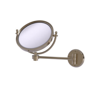 Antique Pewter Eight-Inch Wall Mounted Make-Up Mirror 5X Magnification