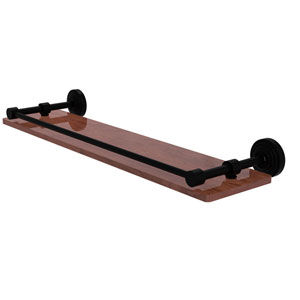 Waverly Place Matte Black 22-Inch Solid IPE Ironwood Shelf with Gallery Rail
