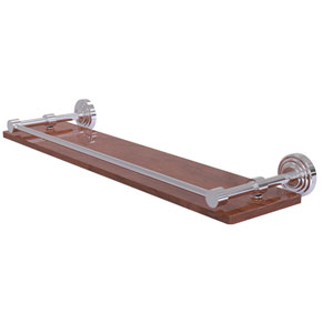 Waverly Place Polished Chrome 22-Inch Solid IPE Ironwood Shelf with Gallery Rail