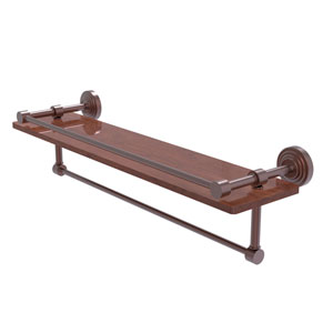 Waverly Place Antique Copper 22-Inch IPE Ironwood Shelf with Gallery Rail and Towel Bar