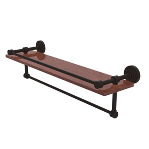Waverly Place Oil Rubbed Bronze 22-Inch IPE Ironwood Shelf with Gallery Rail and Towel Bar