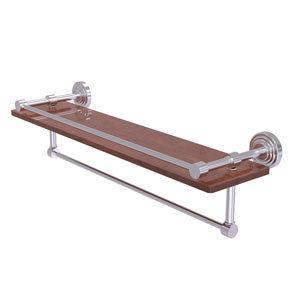 Waverly Place Satin Chrome 22-Inch IPE Ironwood Shelf with Gallery Rail and Towel Bar