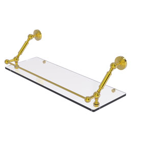 Waverly Place Polished Brass 24-Inch Floating Glass Shelf with Gallery Rail