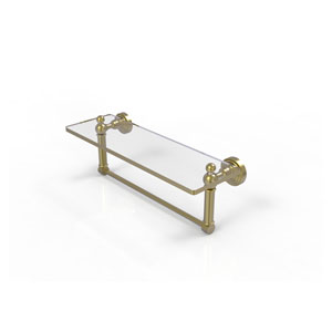 Waverly Place Satin Brass 16-Inch Glass Vanity Shelf with Integrated Towel Bar