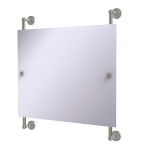 Waverly Place Satin Nickel 26-Inch Landscape Rectangular Frameless Rail Mounted Mirror