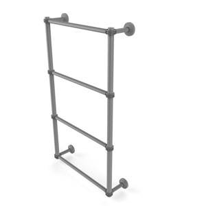 Waverly Place Matte Gray 36-Inch Four Tier Ladder Towel Bar with Dotted Detail