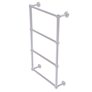Waverly Place Satin Chrome 36-Inch Four Tier Ladder Towel Bar with Dotted Detail