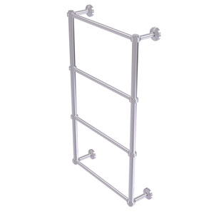 Waverly Place Satin Chrome 24-Inch Four Tier Ladder Towel Bar with Groovy Detail