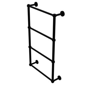 Waverly Place Matte Black 30-Inch Four Tier Ladder Towel Bar with Groovy Detail
