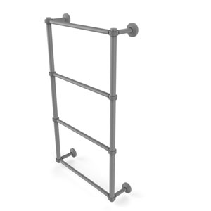 Waverly Place Matte Gray 30-Inch Four Tier Ladder Towel Bar with Groovy Detail