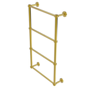 Waverly Place Polished Brass 30-Inch Four Tier Ladder Towel Bar with Groovy Detail