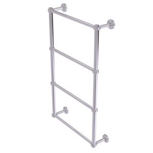 Waverly Place Polished Chrome 30-Inch Four Tier Ladder Towel Bar with Groovy Detail