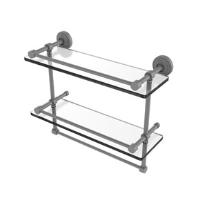 Waverly Place Matte Gray 16-Inch Double Glass Shelf with Towel Bar