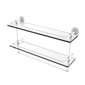 Waverly Place Matte White 22-Inch Double Glass Shelf with Towel Bar