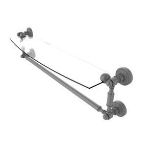 Waverly Place Matte Gray 24-Inch Glass Vanity Shelf with Integrated Towel Bar