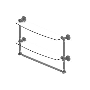Waverly Place Matte Gray 24-Inch Two Tiered Glass Shelf with Integrated Towel Bar