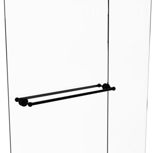 Waverly Place Matte Black 30-Inch Back to Back Shower Door Towel Bar