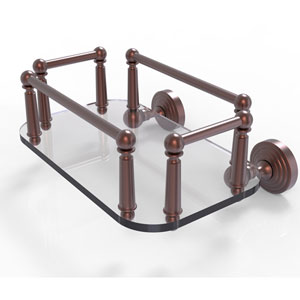 Waverly Place Antique Copper Eight-Inch Wall Mounted Glass Guest Towel Tray