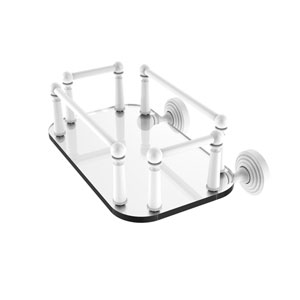 Waverly Place Matte White Eight-Inch Wall Mounted Glass Guest Towel Tray