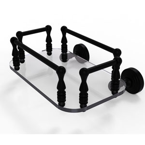 Waverly Place Matte Black Eight-Inch Wall Mounted Glass Guest Towel Tray