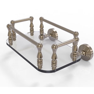 Waverly Place Antique Pewter Eight-Inch Wall Mounted Glass Guest Towel Tray
